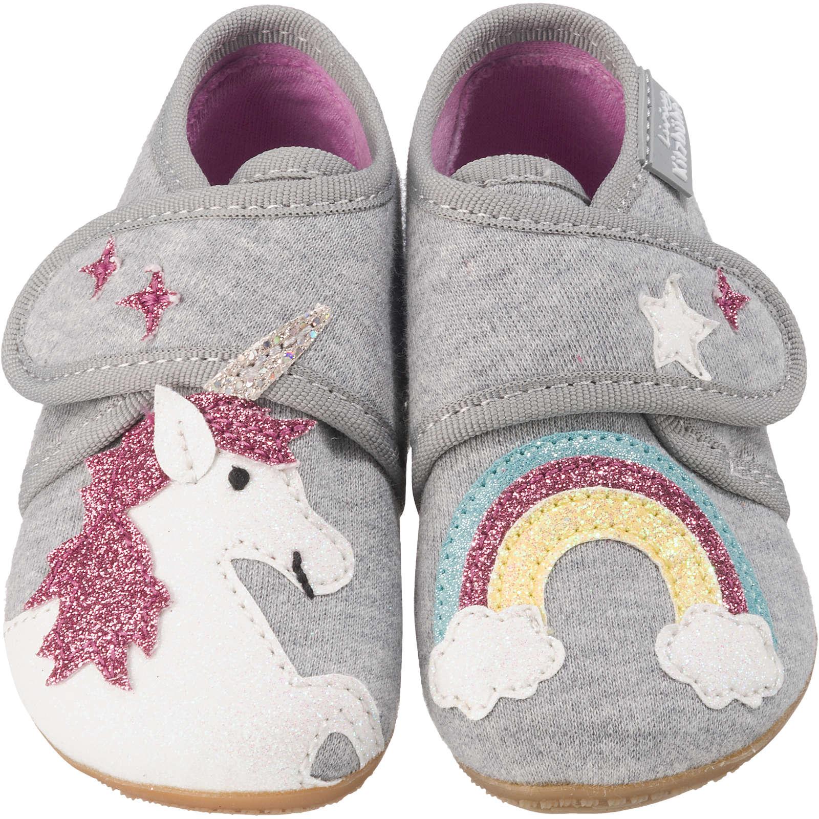 Living Kitzbühel Baby Hausschuhe EINHORN für Mädchen hellgrau Mädchen Gr. 22