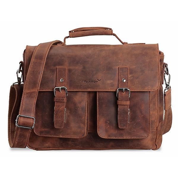 """Packenger Kolbjorn Umhängetasche Messenger Bag bis 15"""" (Leder) cognac"""