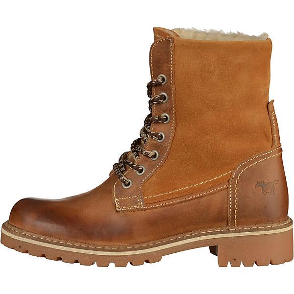 MUSTANG, Schnürstiefeletten, cognac  Gute Qualität beliebte Schuhe
