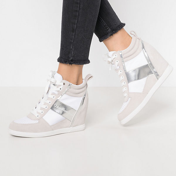 Sneakers JEANS NYLON silber High CALVIN weiß KLEIN BETH METAL SMOOTH SUEDE 7xa01R