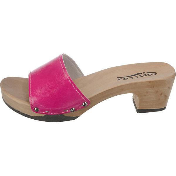 SOFTCLOX KELLY Silklack Plateau-Pantoletten pink