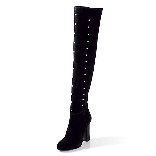 alba moda klassische stiefel schwarz velours mirapodo. Black Bedroom Furniture Sets. Home Design Ideas