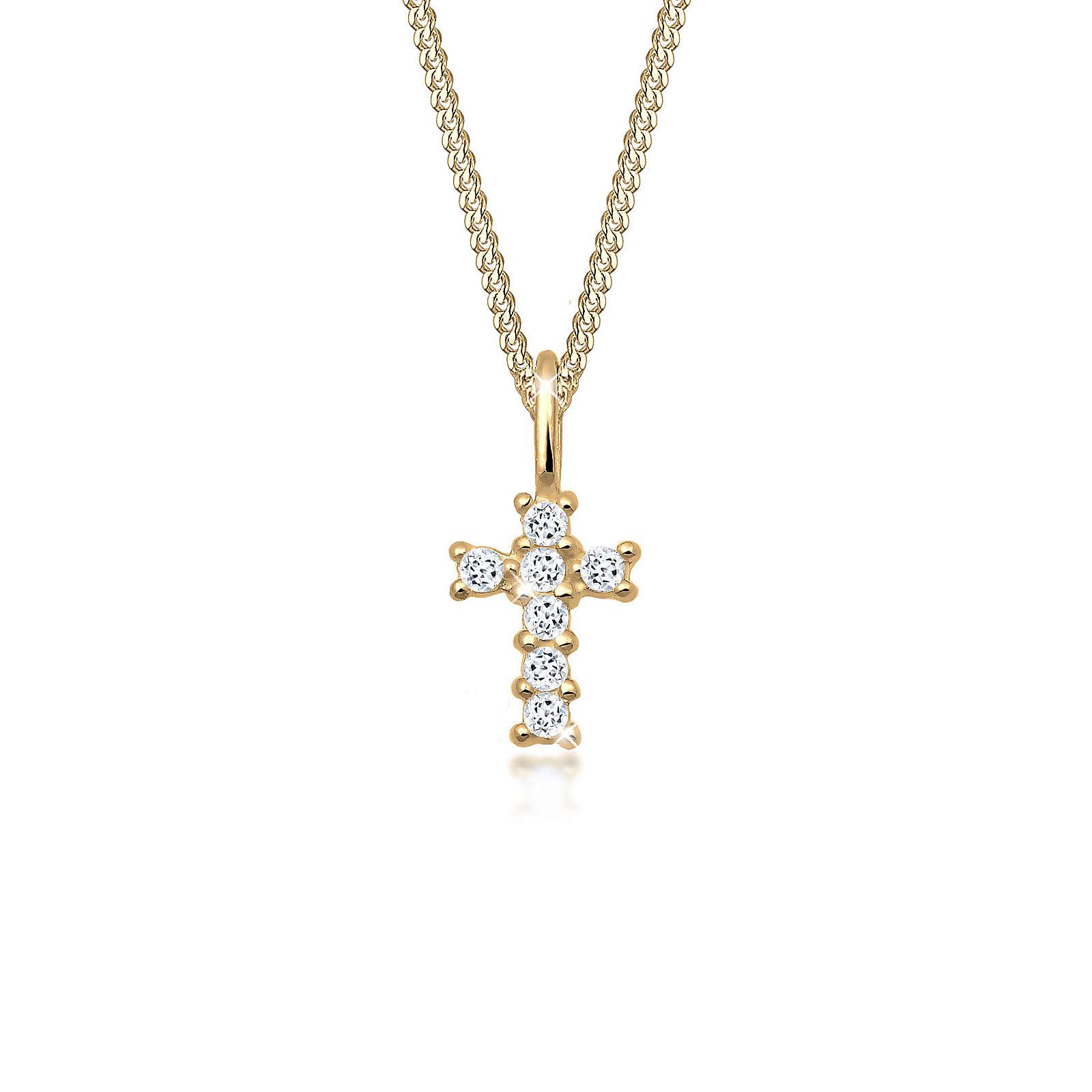 Elli PREMIUM Halskette Kreuz Religion Glaube Symbol Topas 585 Gelbgold Halsketten gold Damen Gr. one size