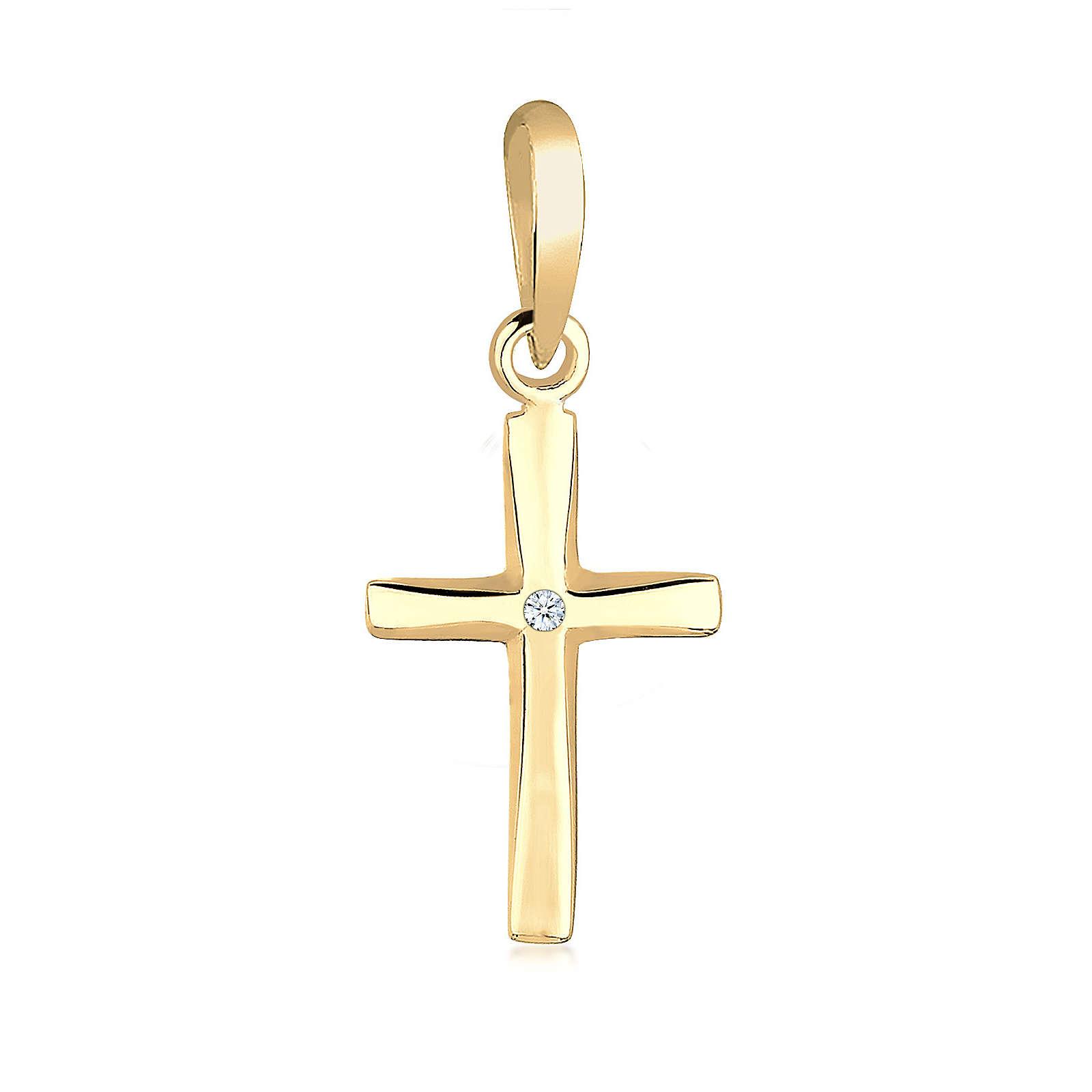 Elli PREMIUM Anhänger Kreuz Diamant Konfirmation Kommunion 585 Gelbgold Damen Gr. one size