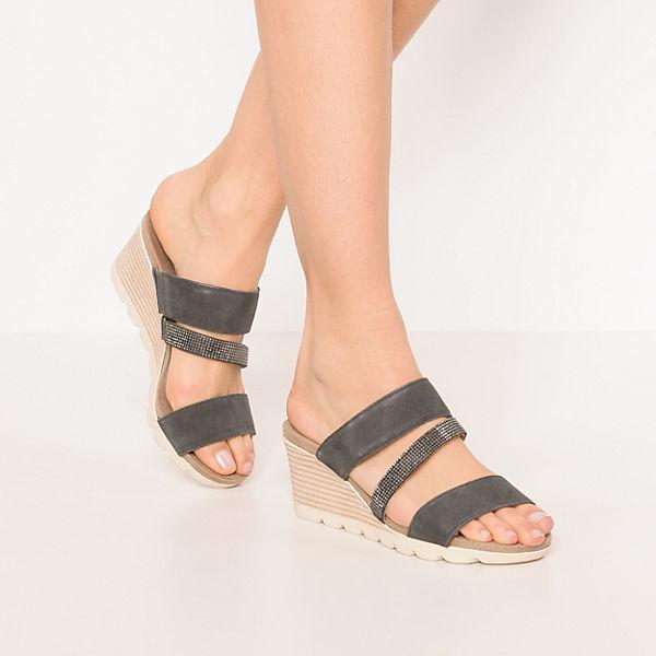 CAPRICE, Plateau-Pantoletten, anthrazit  Gute Qualität beliebte Schuhe