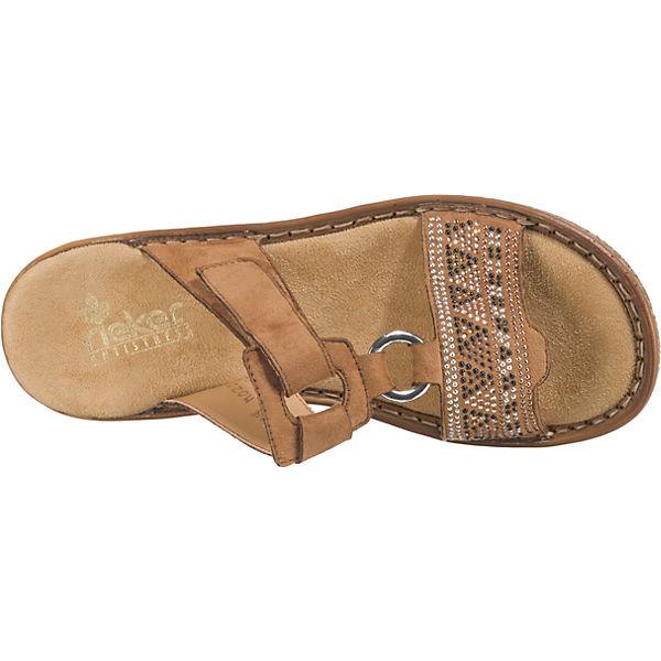Rieker, Microvelour beliebte Komfort-Pantoletten, braun Gute Qualität beliebte Microvelour Schuhe e6fa68