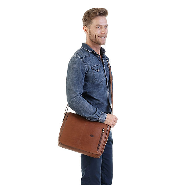 piké Messengertasche mit Notebookfach braun