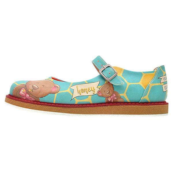 Dogo Shoes Schnallenballerinas Lucy Bear Honey mehrfarbig