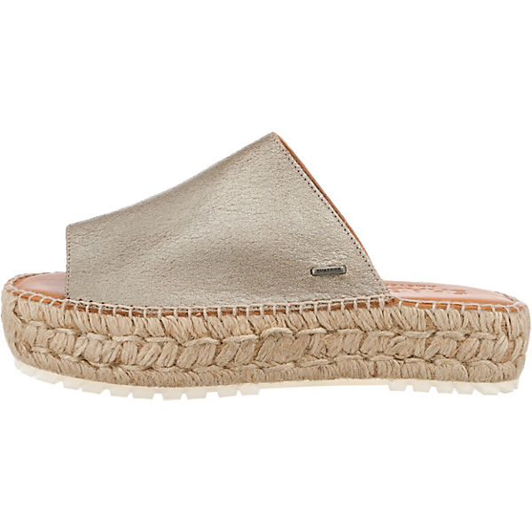 ESPADRILLE METALLIC LEATHER Plateau-Pantoletten