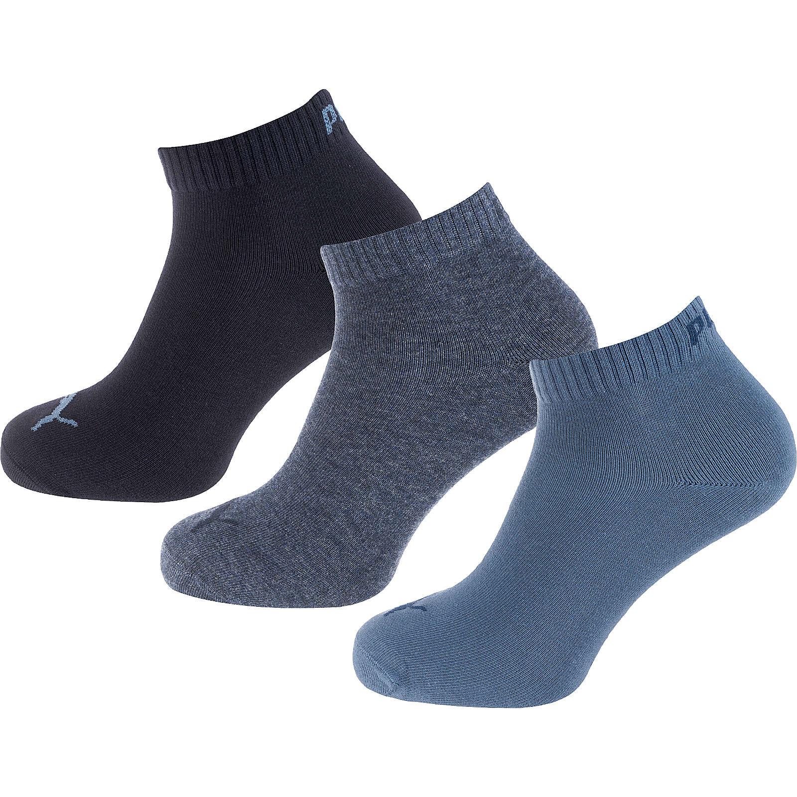 PUMA 3 Paar Kurzsocken Socken blau Gr. 39-42