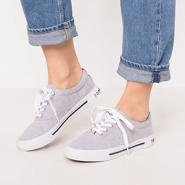 TOMMY HILFIGER, HERITAGE JERSEY TEXTILE SNEAKER Sneakers Low, grau