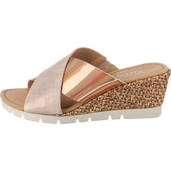 Gabor, Plateau-Pantoletten, gold-kombi Schuhe  Gute Qualität beliebte Schuhe gold-kombi 96ac82