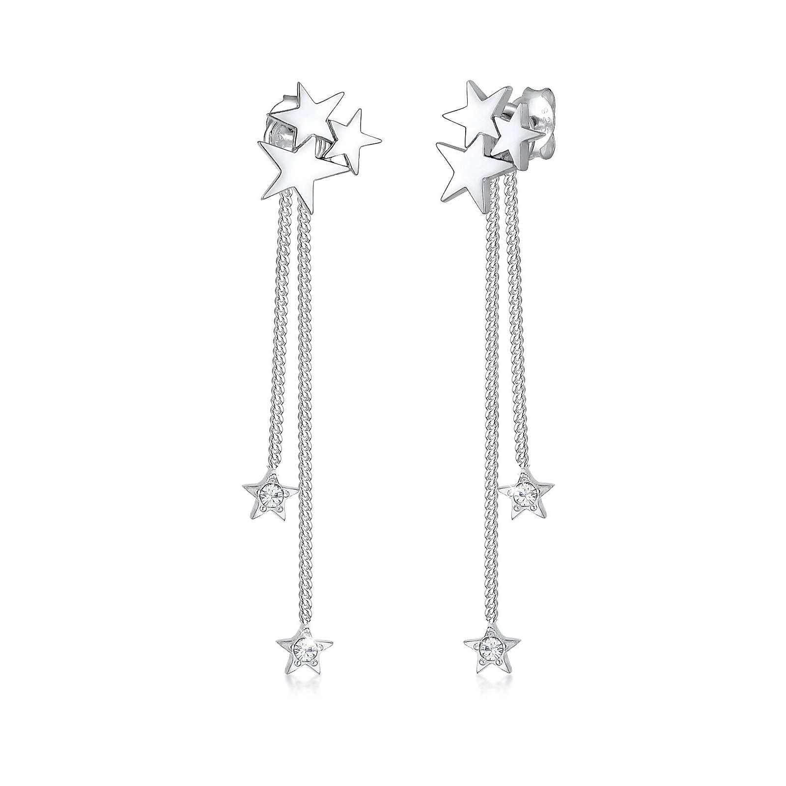 Elli PREMIUM Ohrringe Sterne Swarovski® Kristalle 925 Sterling Silber Ohrringe silber Damen
