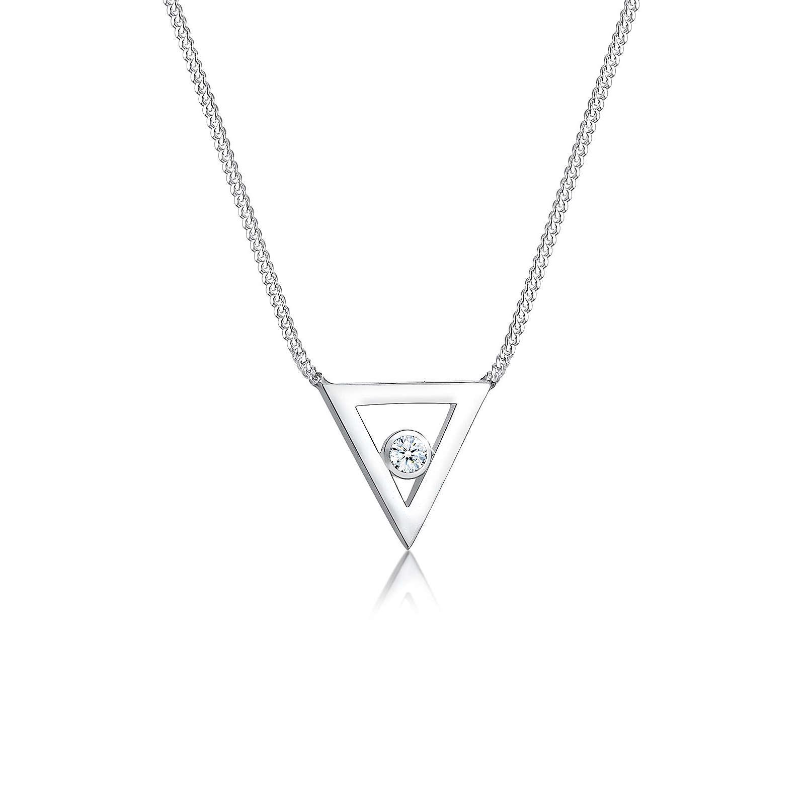 Elli PREMIUM Halskette Geo Dreieck Diamant (0.03 ct.) 925 Silber Halsketten silber Damen