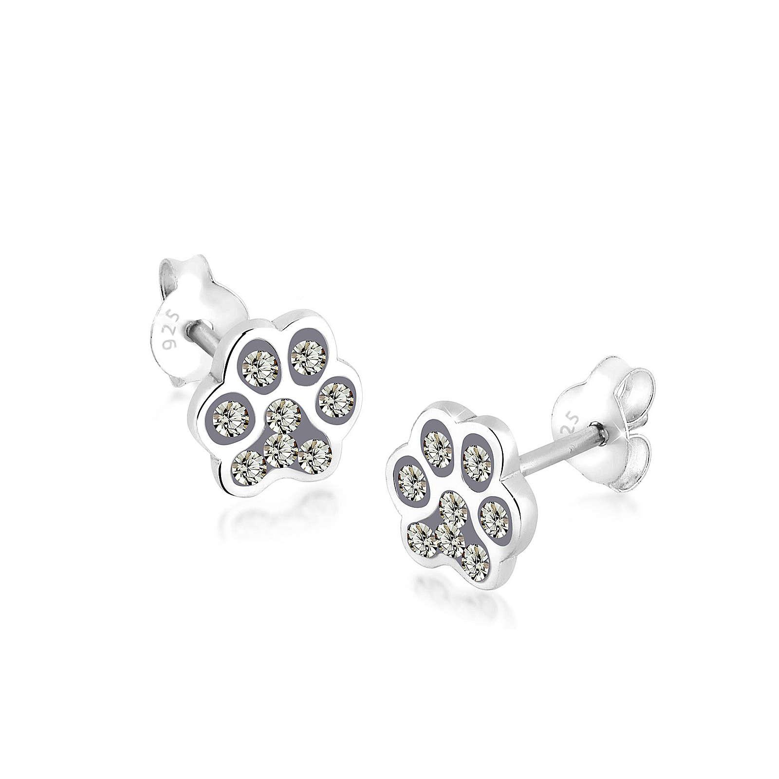 Elli Ohrringe Katzenpfoten Pfote Swarovski® Kristalle Silber Ohrringe grau Damen