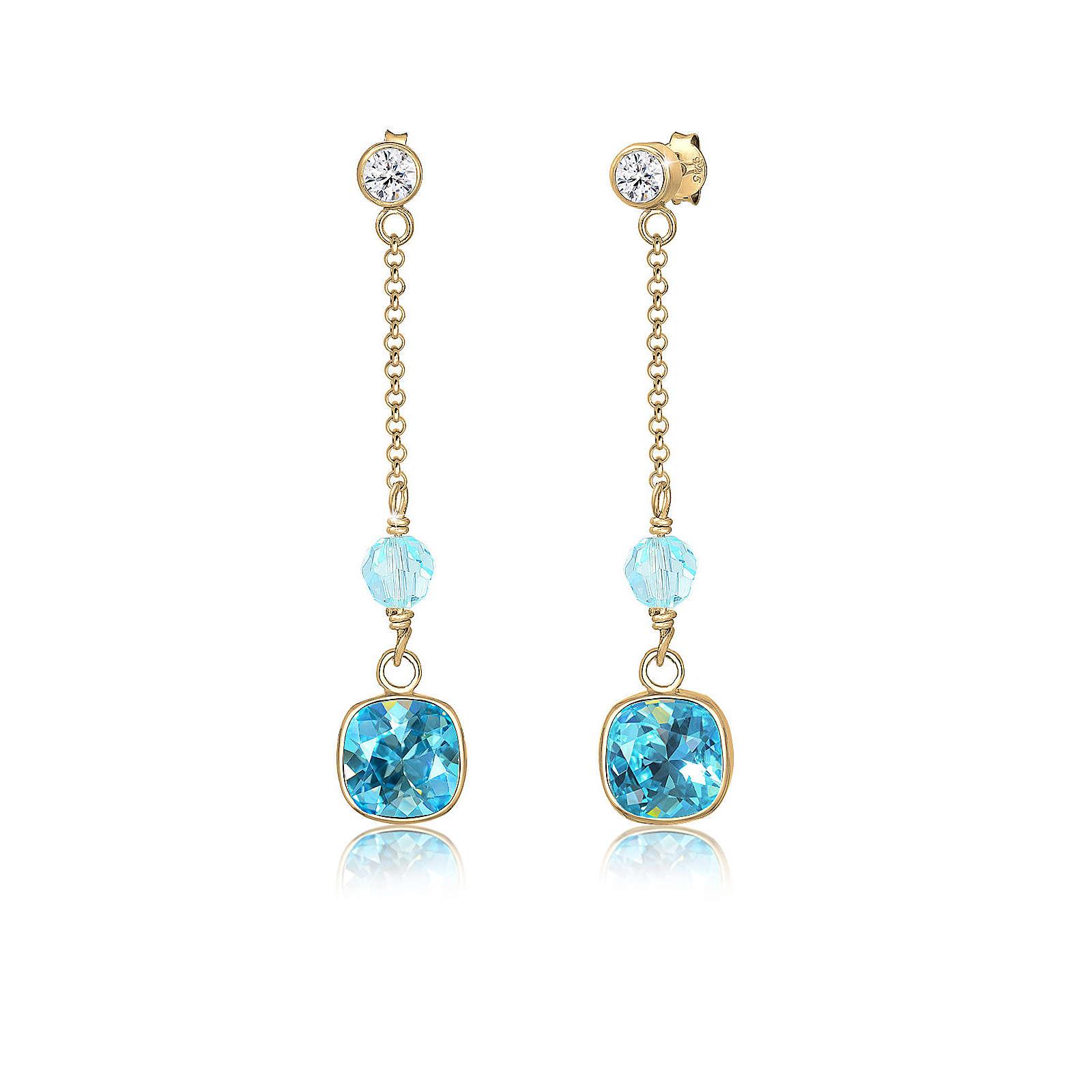 Elli PREMIUM Ohrringe Hänger Swarovski® Kristalle 925 Sterling Silber Ohrringe gold Damen Gr. one size