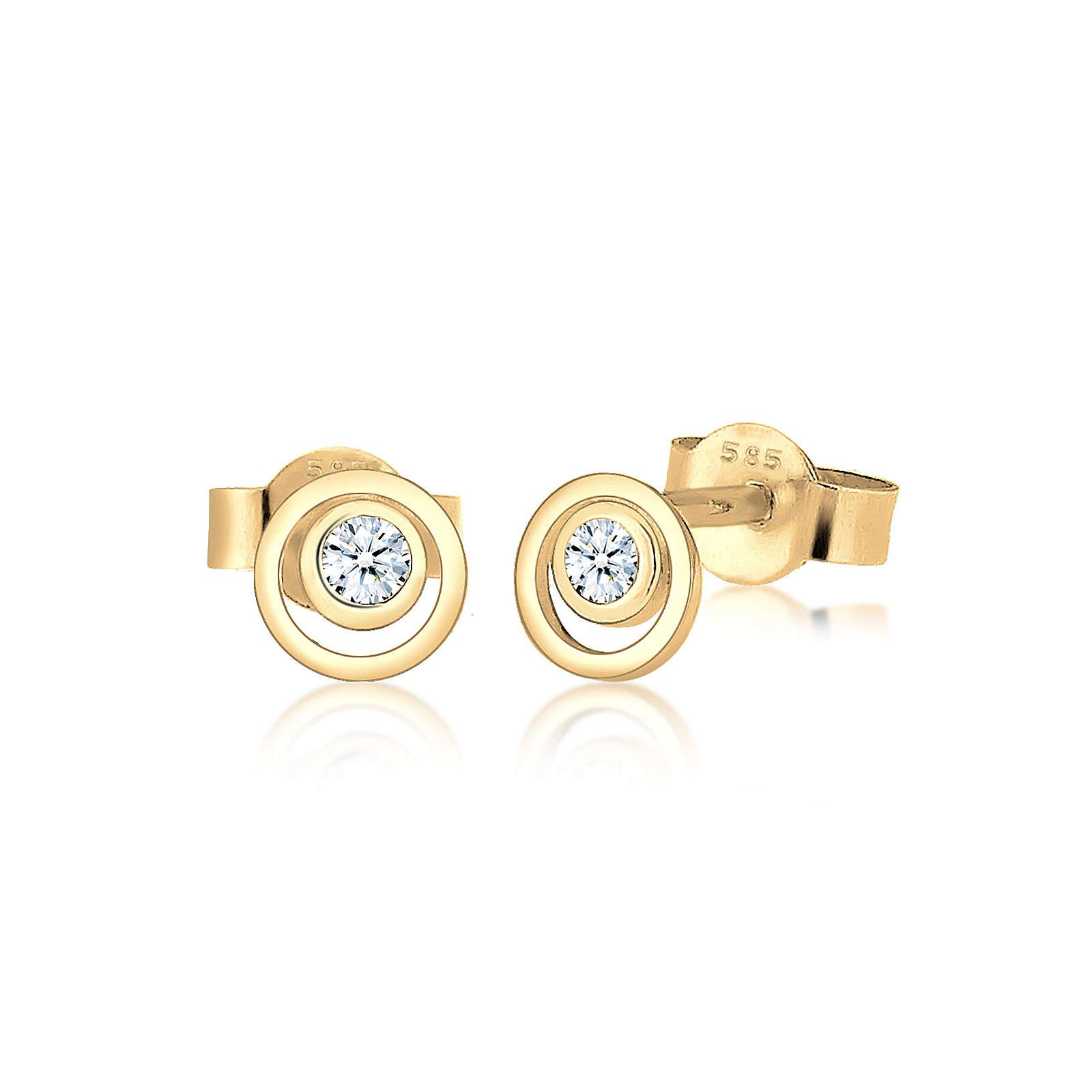 Diamore Ohrringe Kreis Layer Diamant Hochwertig 585 Gelbgold Damen Gr. one size