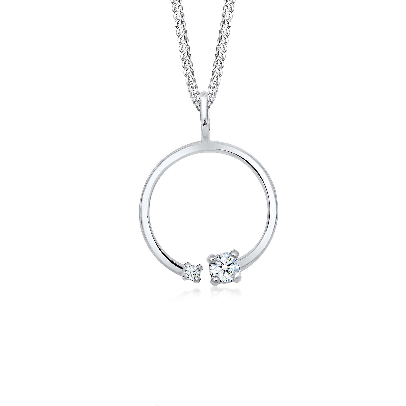 Diamore Halskette Kreis Geo Basic Diamant (0.12 ct.) 925 Silber Damen Gr. one size