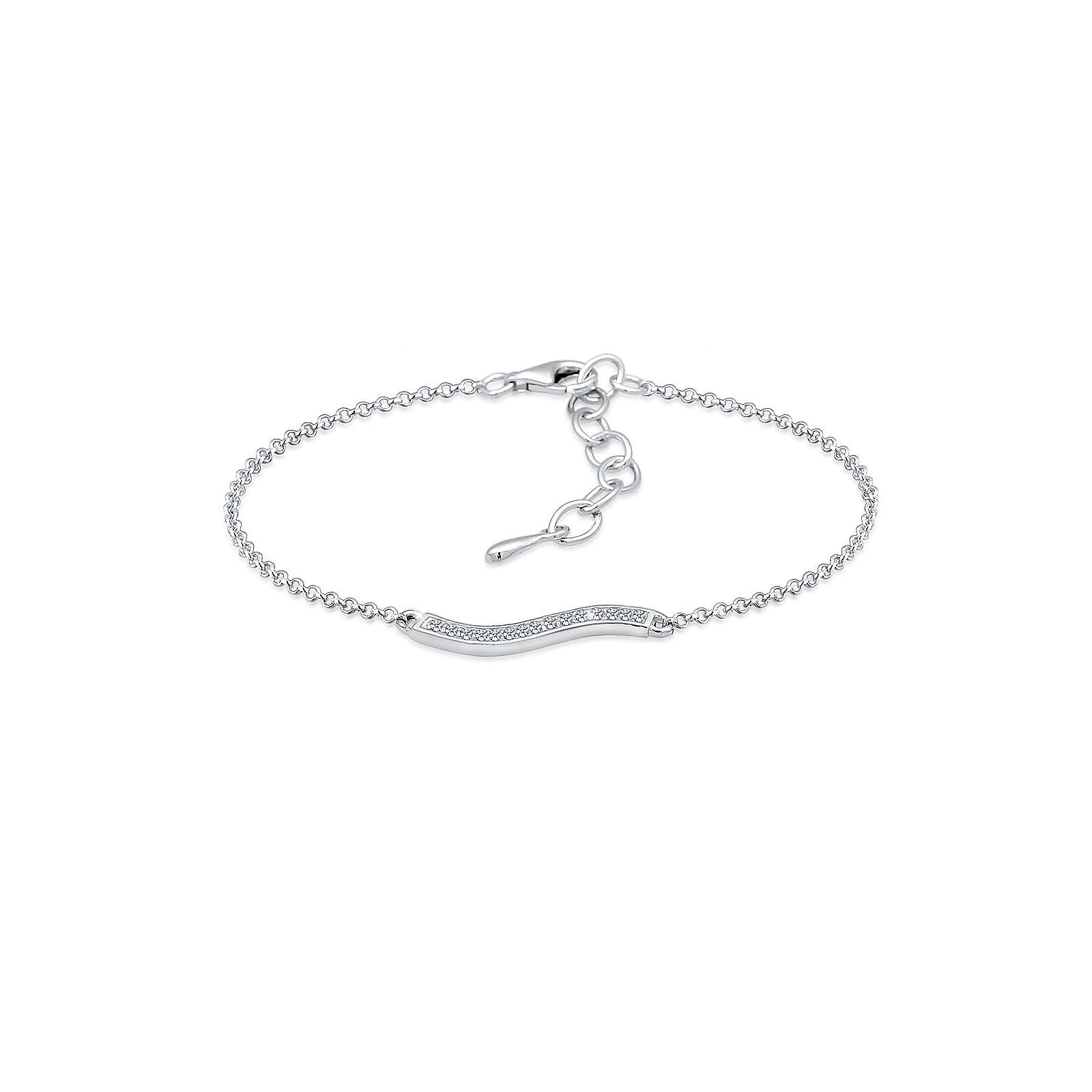 Diamore Armband Welle Geo Diamant (0.15 ct.) 925 Sterling Silber Damen Gr. one size