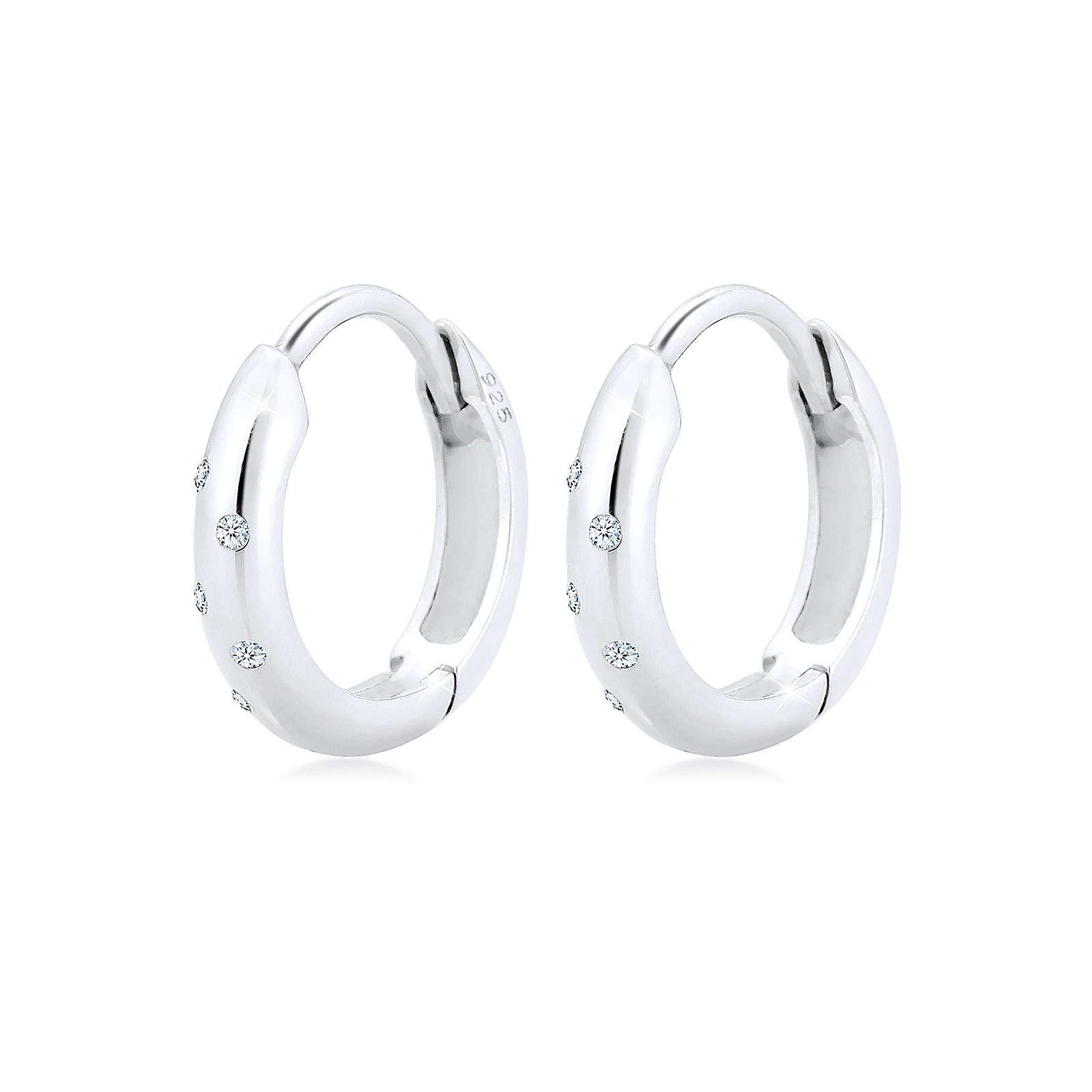 Diamore Ohrringe Creole Diamanten (0.10 ct.) 925 Sterling Silber Damen Gr. one size