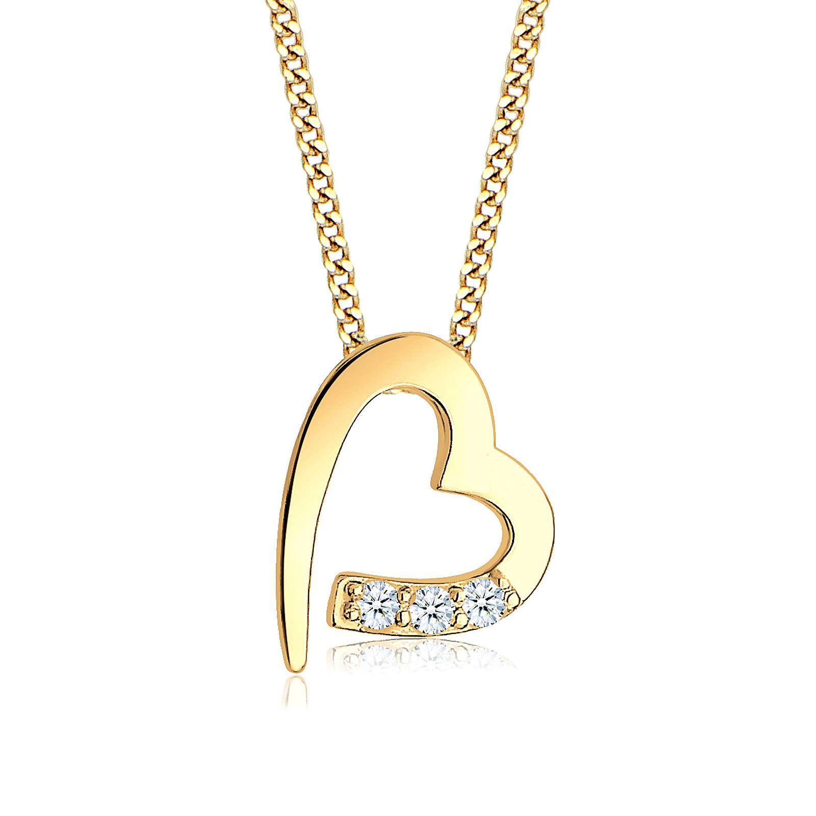 Diamore Halskette Herz Diamanten (0.06 ct.) 585er Gelbgold Halsketten gold Damen Gr. one size