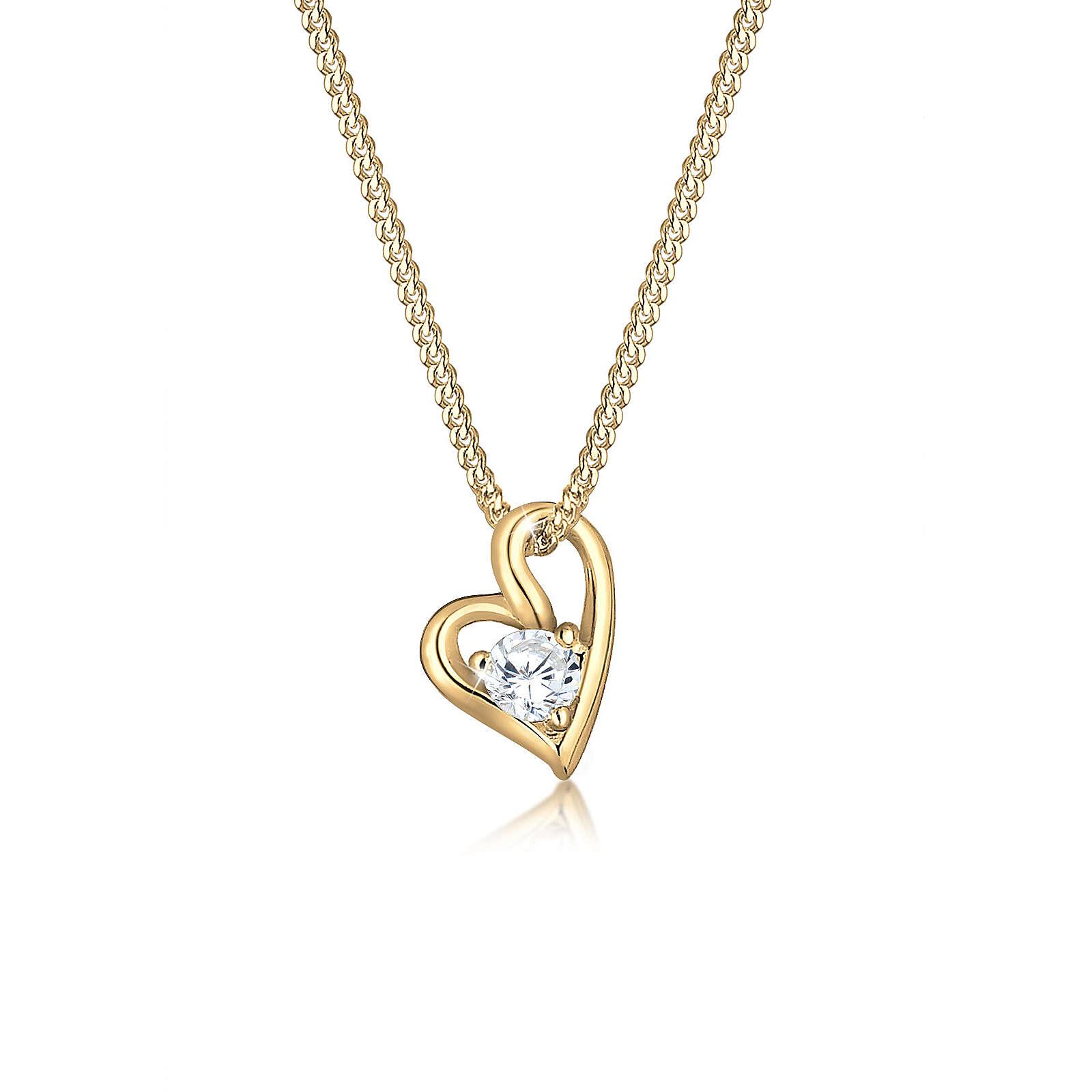 Elli PREMIUM Halskette Herz Liebe Zirkonia 585 Gelbgold Damen Gr. one size