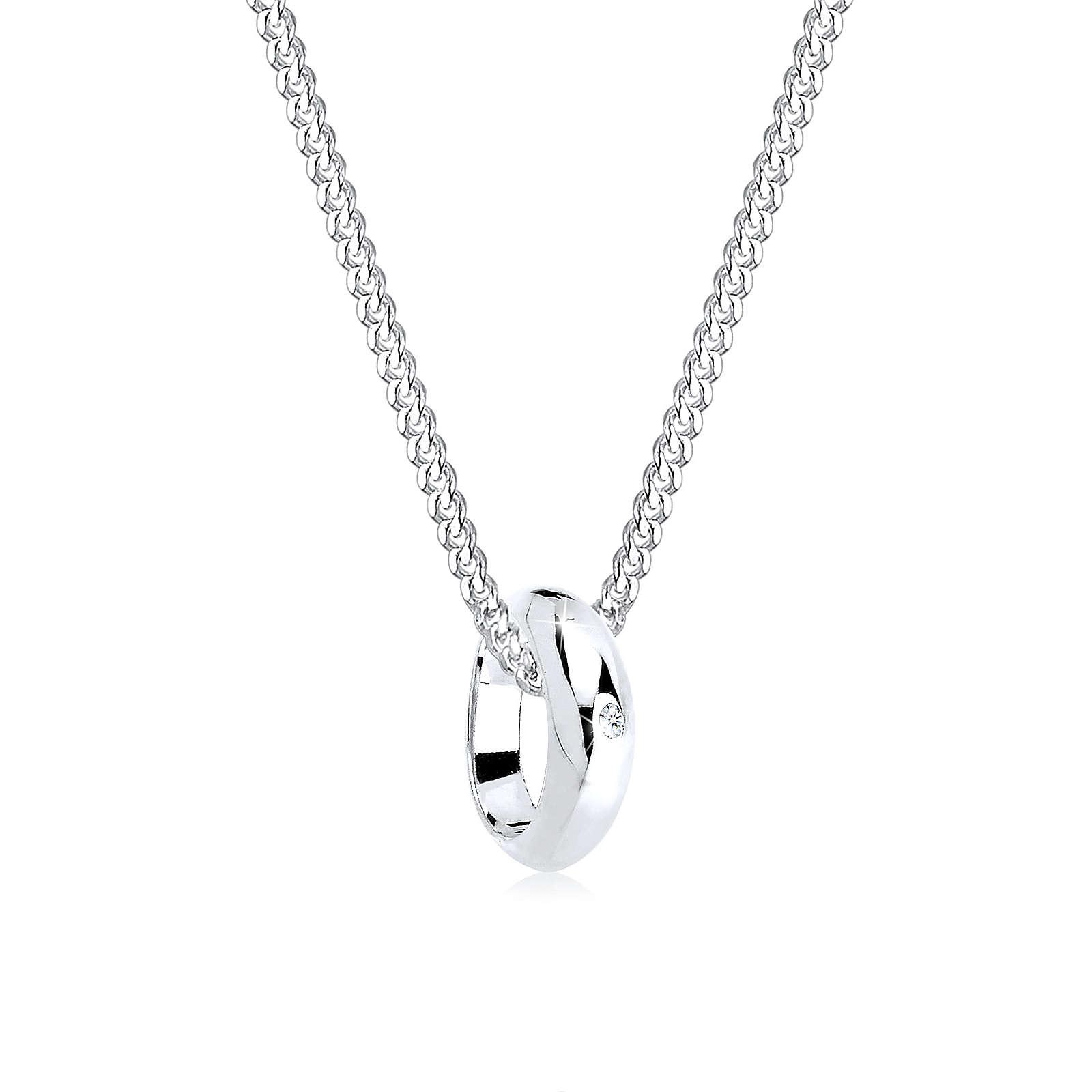 Diamore Halskette Kreis Ring Diamant 925 Sterling Silber Halsketten weiß Damen Gr. one size
