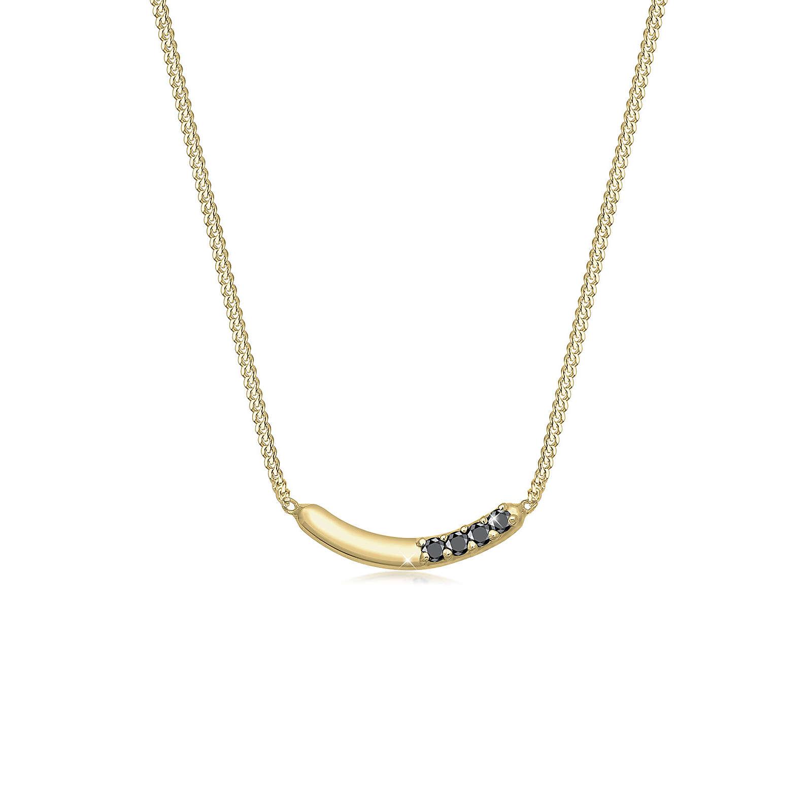 Diamore Halskette Bogen Geo Schwarzer Diamant (0.06ct.) 375 Gelbgold Damen Gr. one size