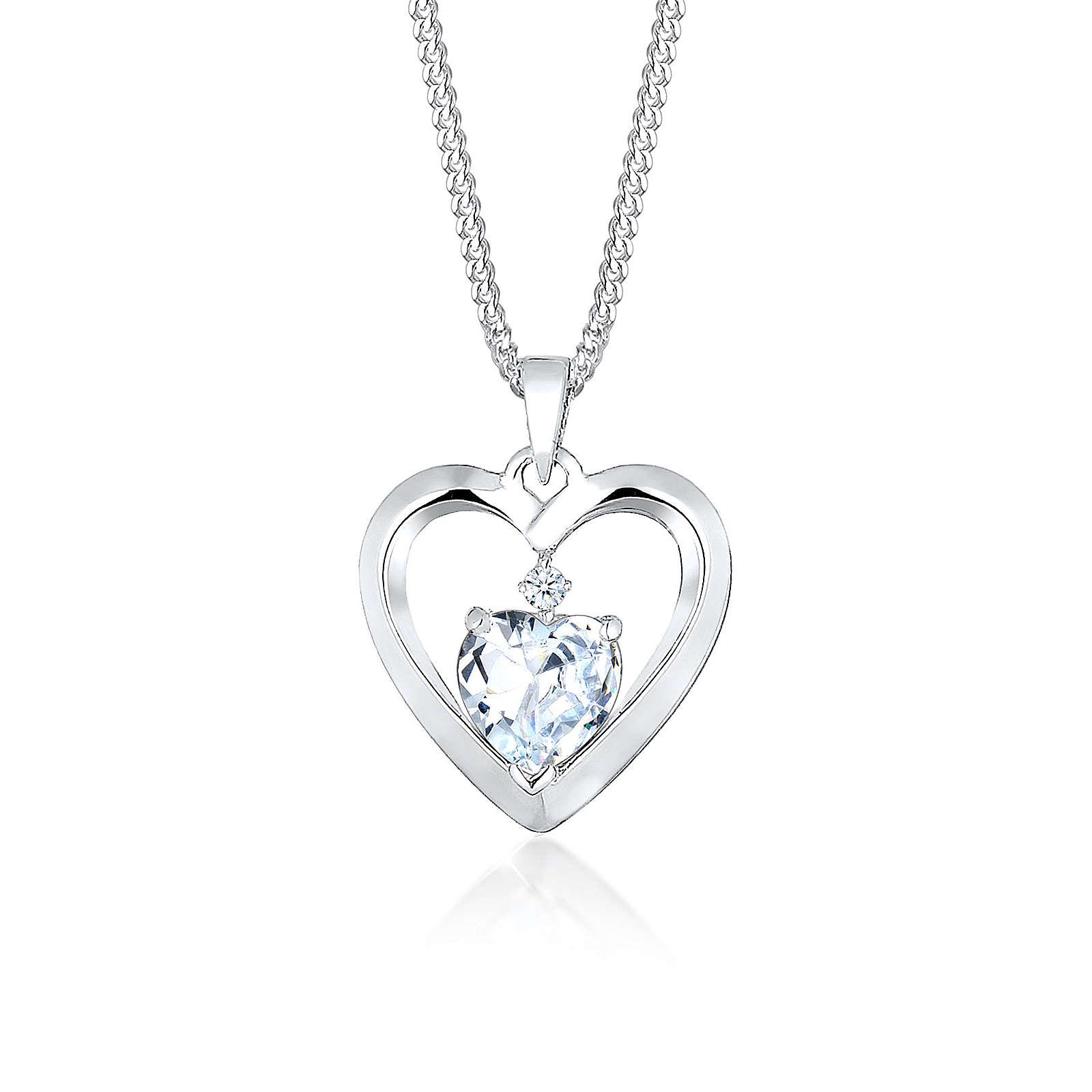 Diamore Halskette Herz Diamant (0.02 ct.) Zirkonia 925 Silber Halsketten weiß Damen Gr. one size