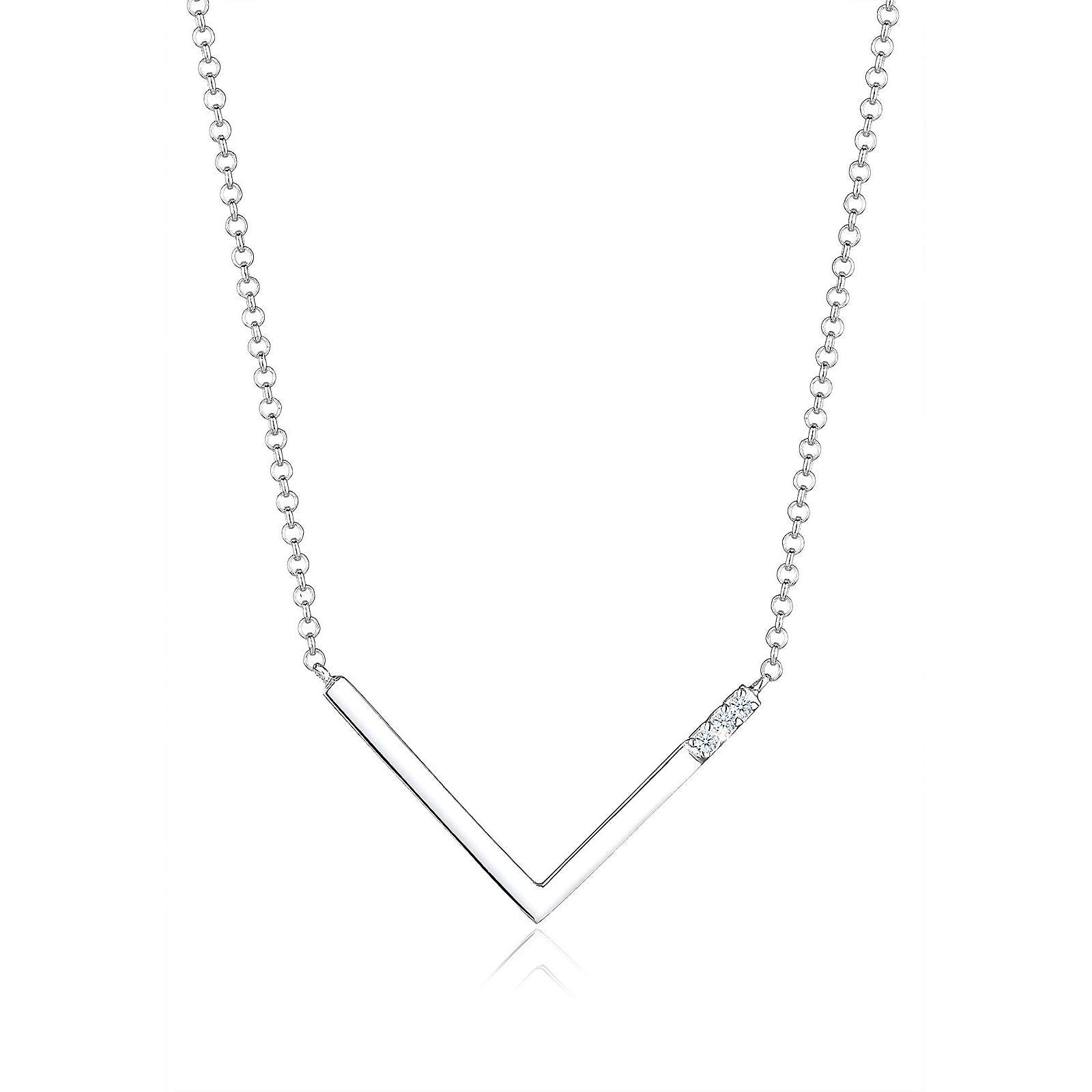 Diamore Halskette V-Kette Geo Diamant (0.06 ct.) 925 Silber Halsketten weiß Damen Gr. one size