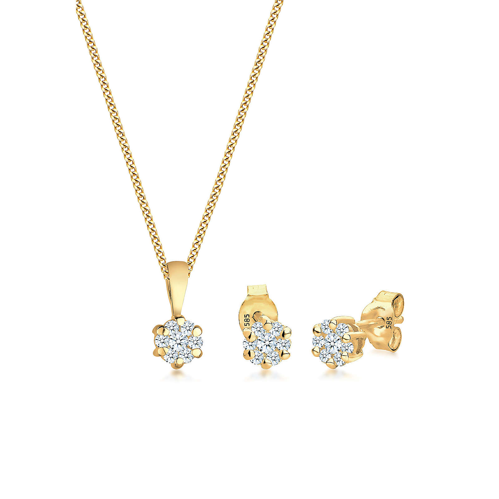 Diamore Schmuckset Blume Klassisch Diamanten (0.45 ct.) 585 Gelbgold Damen Gr. one size