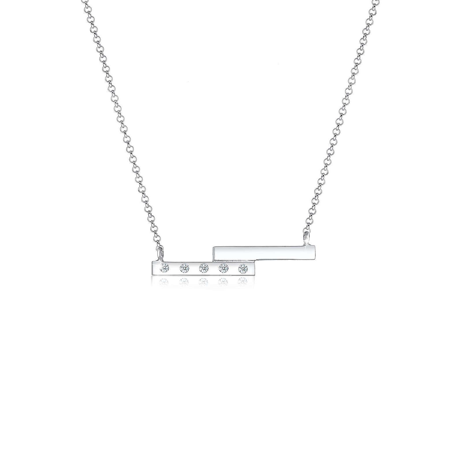 Diamore Halskette Geo Rechteck Diamant (0.10 ct) 925 Sterling Silber Damen Gr. one size