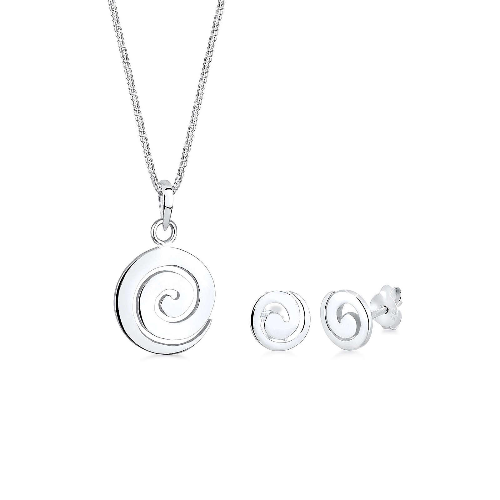Elli Schmuckset Spirale Rund Kreis 925 Sterling Silber Schmucksets silber Damen Gr. one size