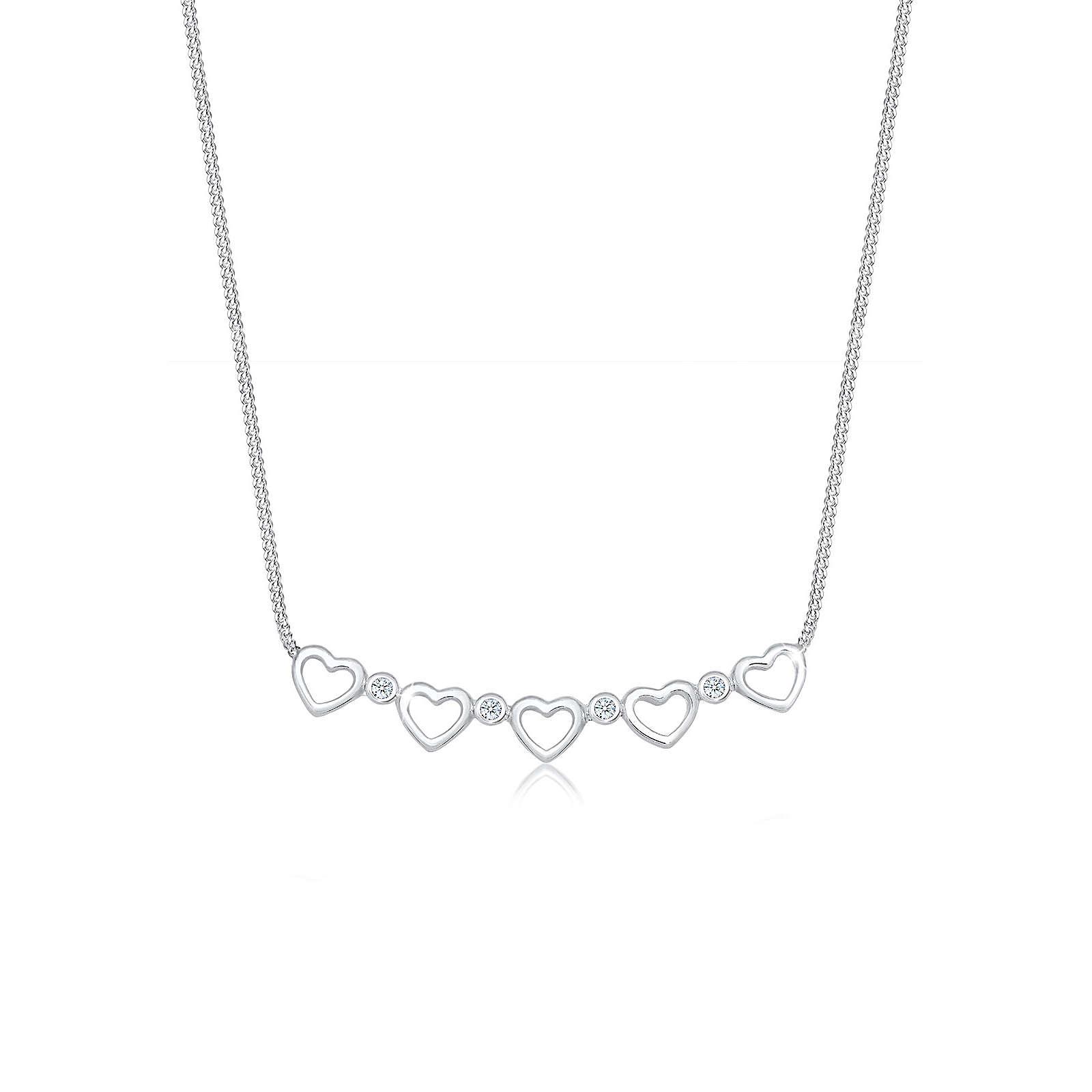 Diamore Halskette Herz Unendlich Diamant (0.08 ct.) 925 Silber Damen Gr. one size