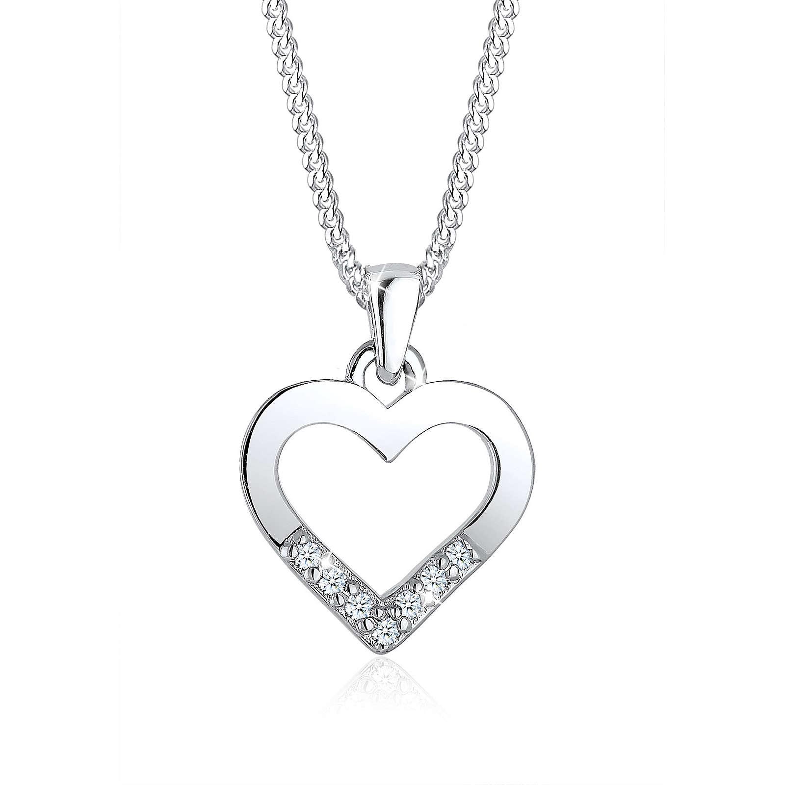 Diamore Halskette Herz Liebe Diamant (0.07 ct.) 925 Silber Halsketten silber Damen Gr. one size
