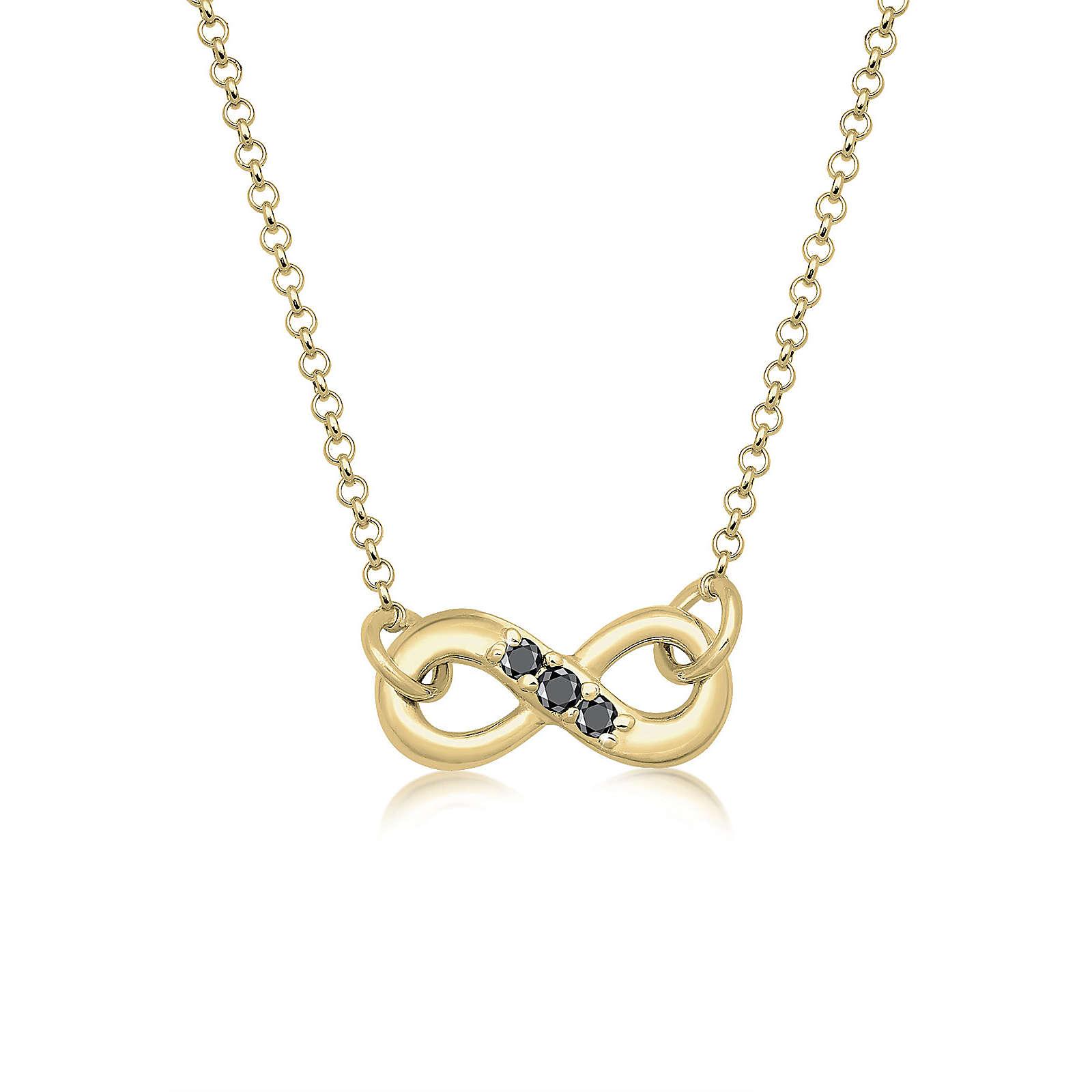 Diamore Halskette Infinity Schwarzer Diamant (0.06 ct.) 375 Gelbgold Damen Gr. one size