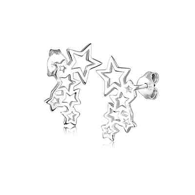 Elli Ohrringe Sterne Astro Trend Cut Out 925 Sterling Silber Ohrringe