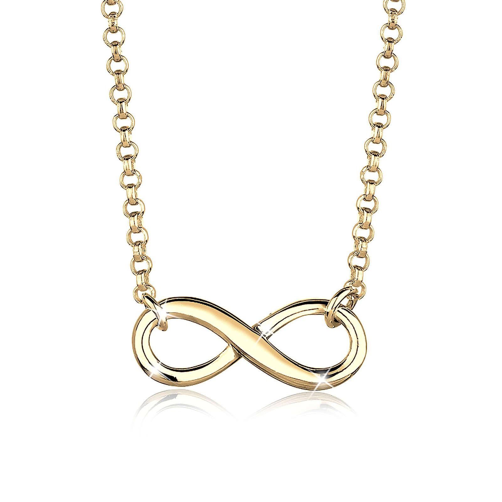 Elli Halskette Infinity Unendlichkeit 925 Sterling Silber Halsketten gold Damen Gr. one size