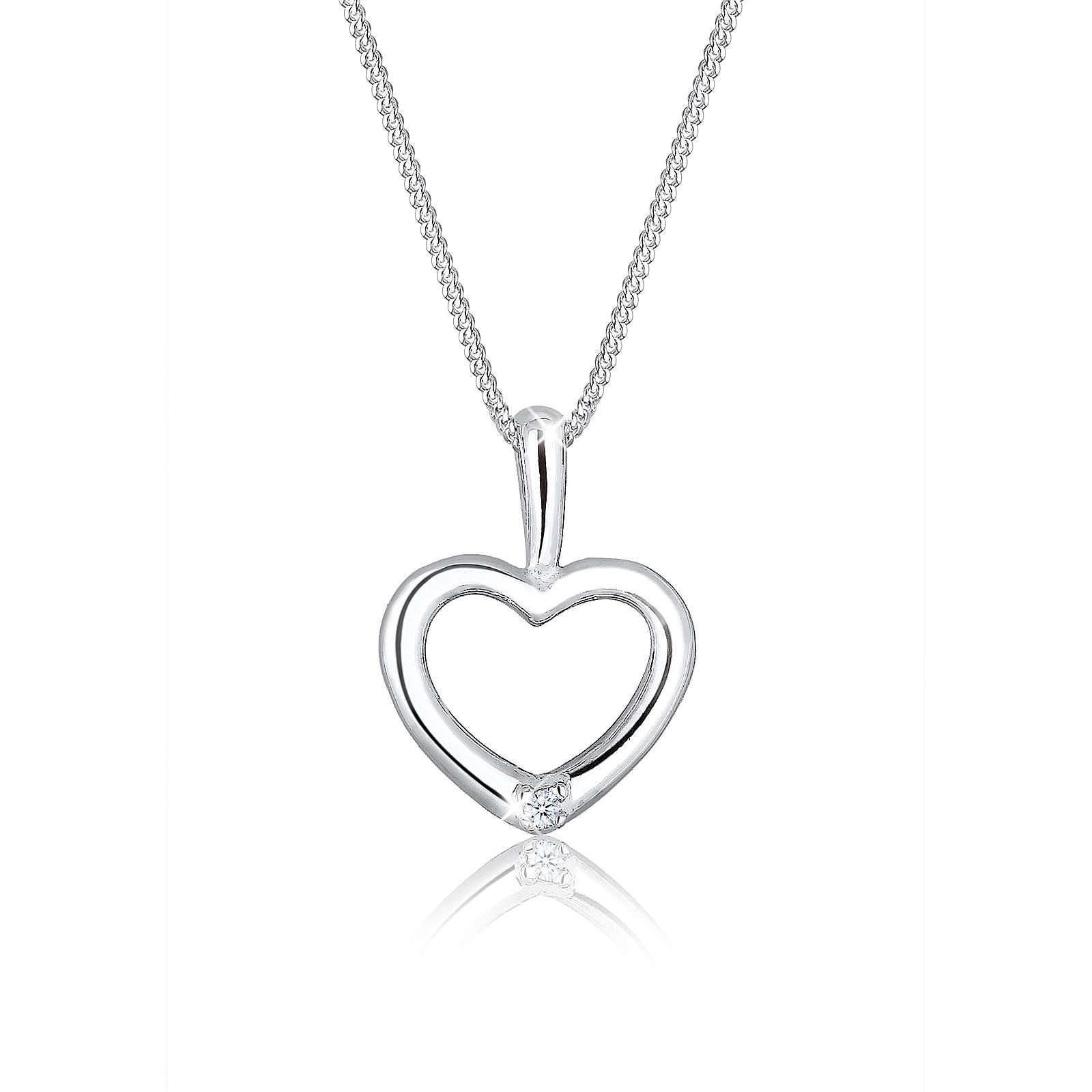Diamore Halskette Herz Filigran Diamant (0.02 ct.) 925 Silber Halsketten weiß Damen Gr. one size