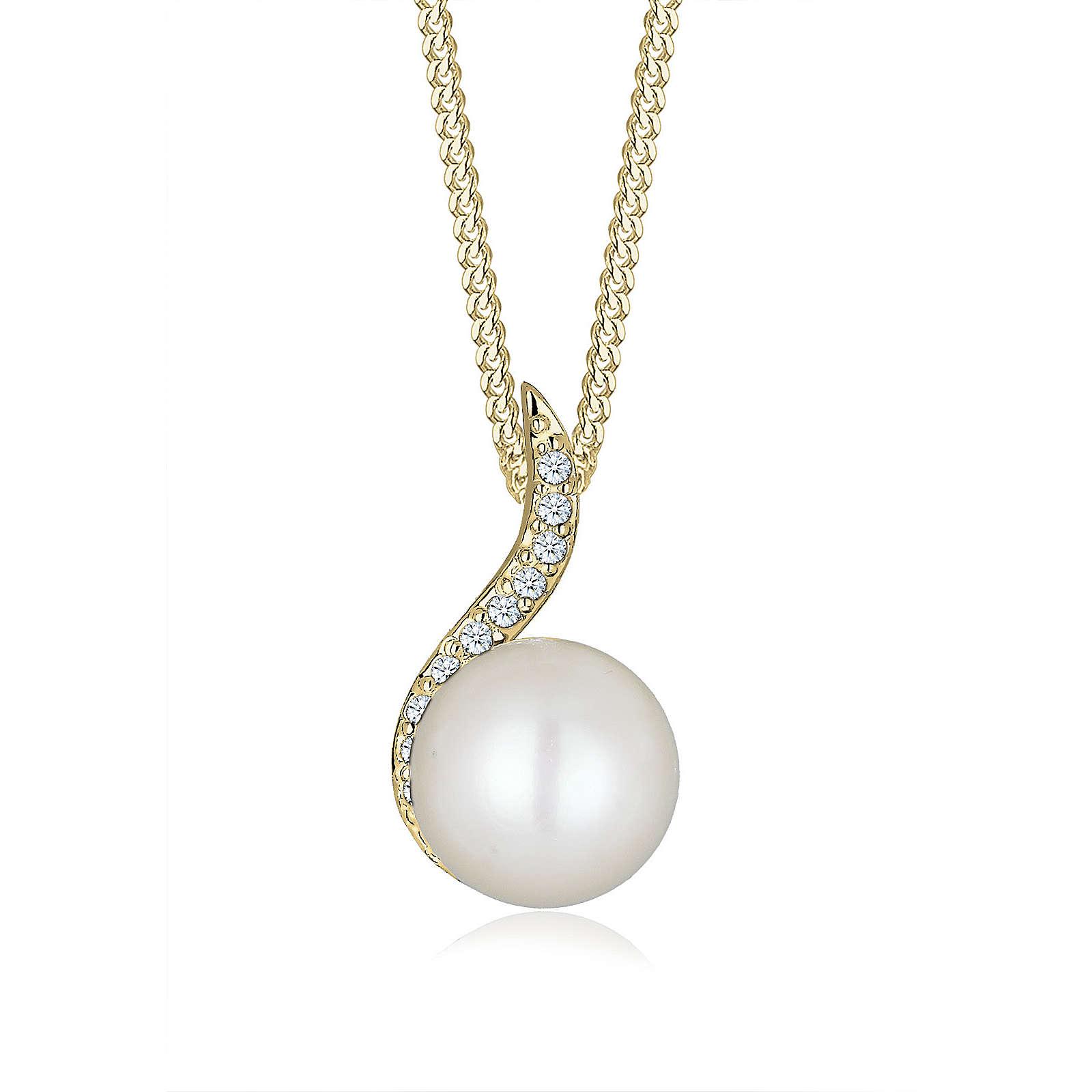 Diamore Halskette Klassisch Perle Diamant (0.11 ct.) 585 Gelbgold Halsketten weiß Damen Gr. one size