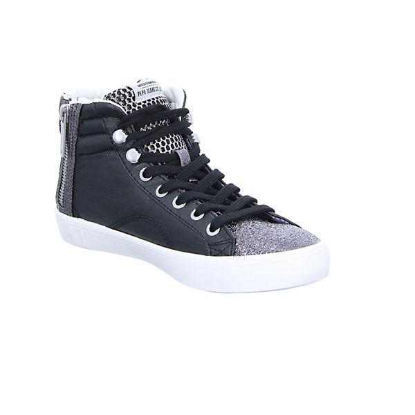 Pepe Jeans, High, Clinton Mesh Sneakers High, Jeans, schwarz   73e6b6