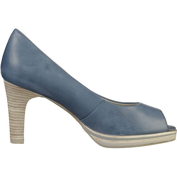 MARCO TOZZI, Peeptoe-Pumps, blau beliebte  Gute Qualität beliebte blau Schuhe 052ff0