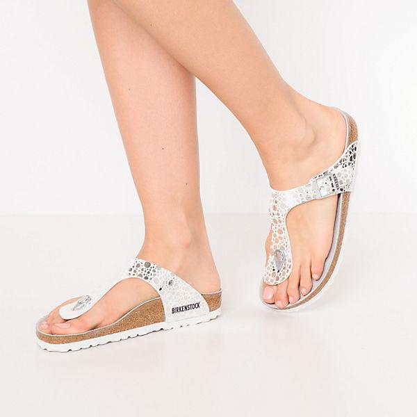 BIRKENSTOCK, Gizeh Gute schmal Komfort-Pantoletten, silber  Gute Gizeh Qualität beliebte Schuhe 95b598