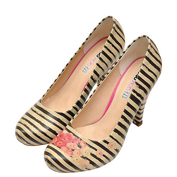 Dogo Shoes, Roses on  Stripes Klassische Pumps, mehrfarbig  on  a4a7bd