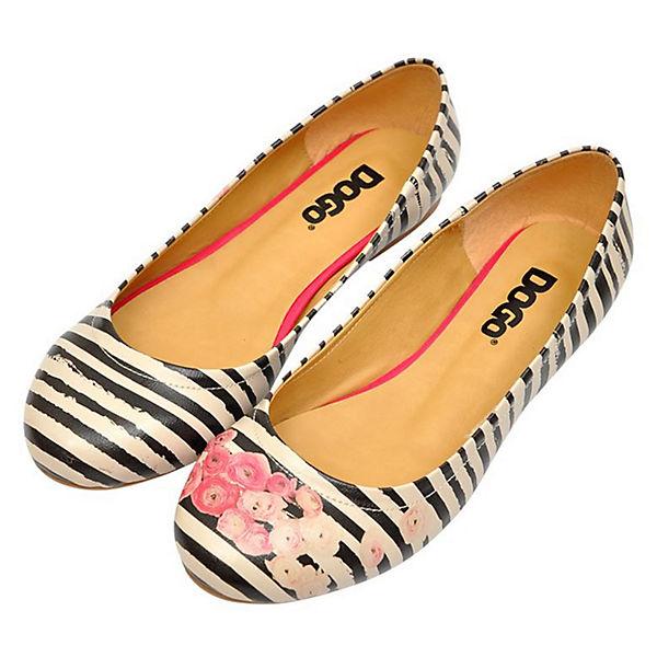 Dogo Shoes, Roses mehrfarbig on Stripes Klassische Ballerinas, mehrfarbig Roses   fc8b1b