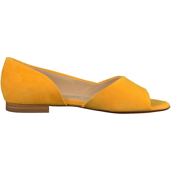 PETER KAISER, Gute Peeptoe-Ballerinas, gelb  Gute KAISER, Qualität beliebte Schuhe 191fc3