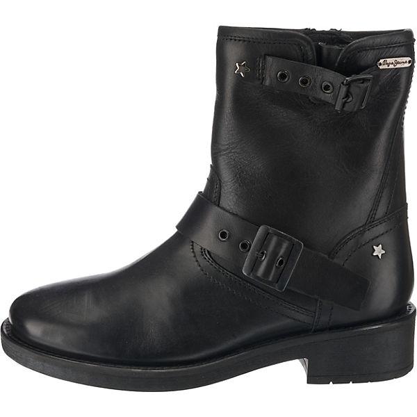 Pepe beliebte Jeans, MADDOX ALLYS Biker Stiefel, schwarz Gute Qualität beliebte Pepe Schuhe 6d0c80