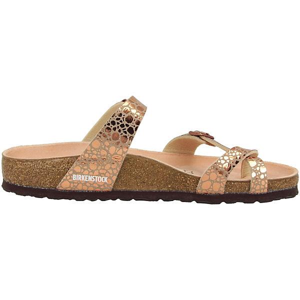 BIRKENSTOCK, Mayari Birko-Flor schmal Qualität Komfort-Pantoletten, gold  Gute Qualität schmal beliebte Schuhe 0fcf55
