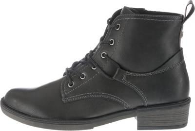 Tamaris 1 26267 23 001 Damen Stiefelette Lace Up Boots Leder Black Schwarz mit Warmfutter