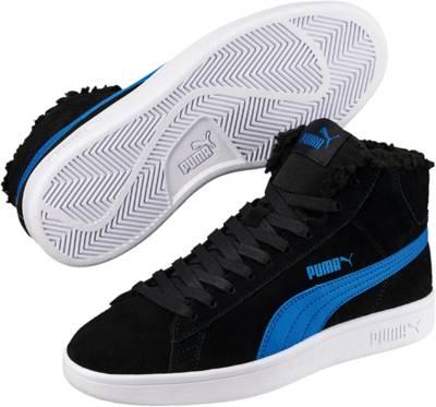 PUMA, Kinder Sneakers High Puma Smash v2 Mid Fur Jr für Jungen, schwarz